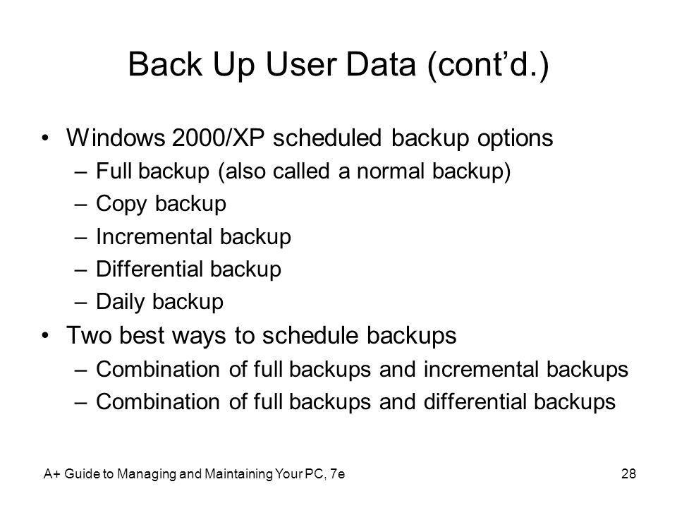 Back Up User Data (cont'd.)