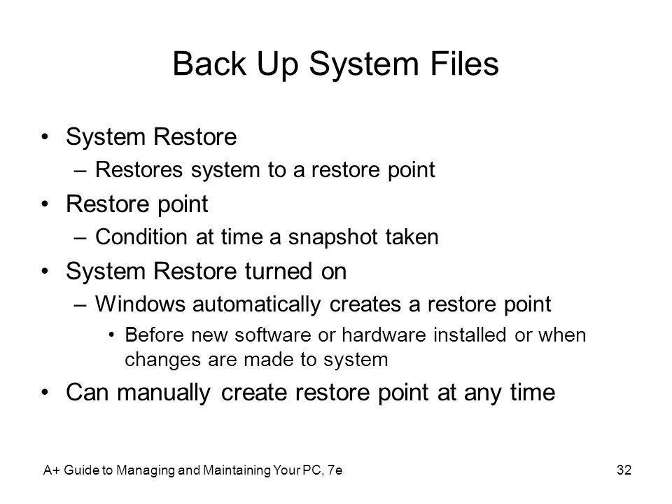 Back Up System Files System Restore Restore point