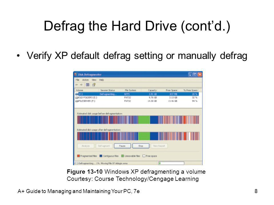 Defrag the Hard Drive (cont'd.)