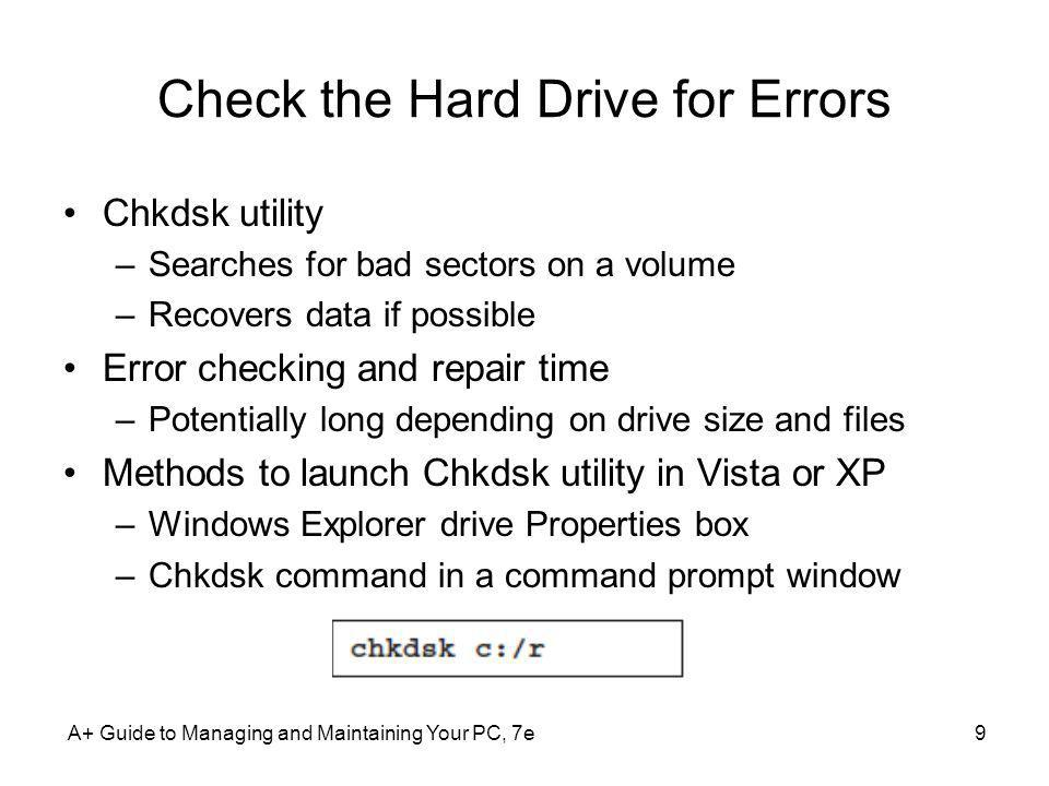 Check the Hard Drive for Errors