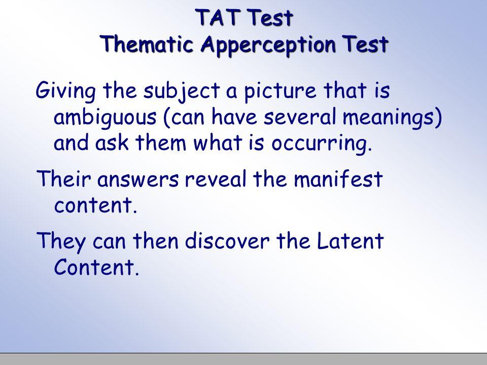 TAT Test Thematic Apperception Test