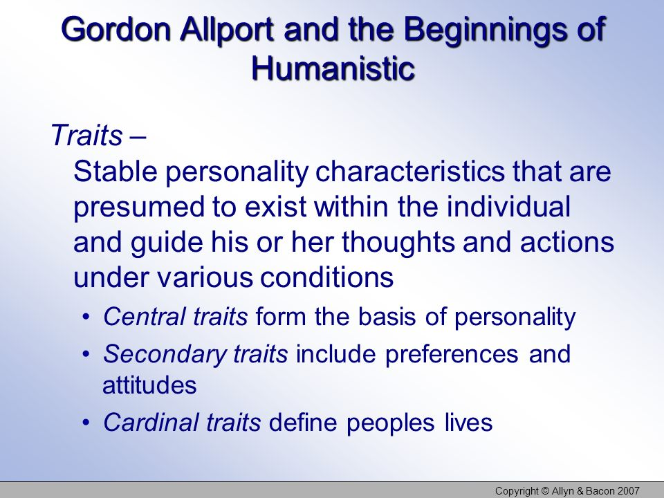 Gordon Allport and the Beginnings of Humanistic
