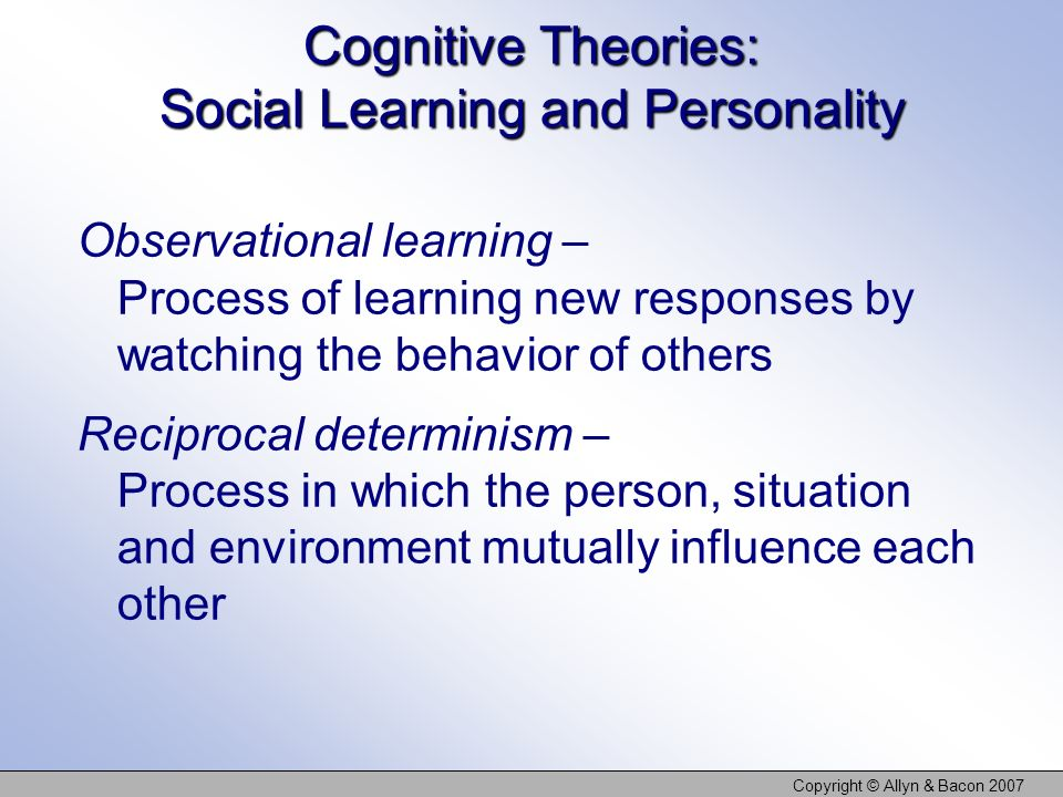 Cognitive Theories: Social Learning and Personality