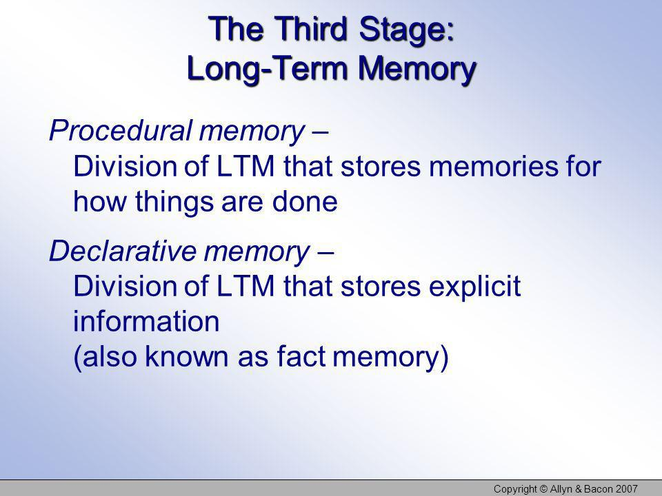 The Third Stage: Long-Term Memory