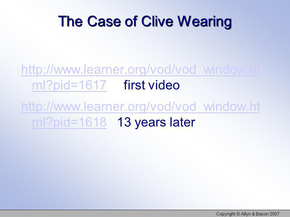 The Case of Clive Wearing