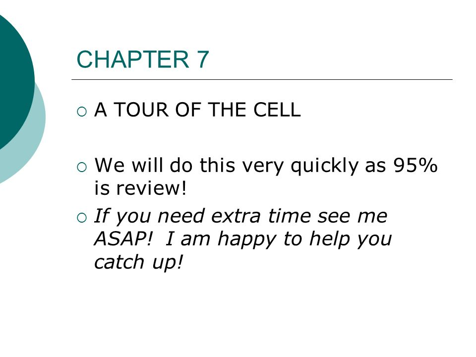CHAPTER 7 A TOUR OF THE CELL