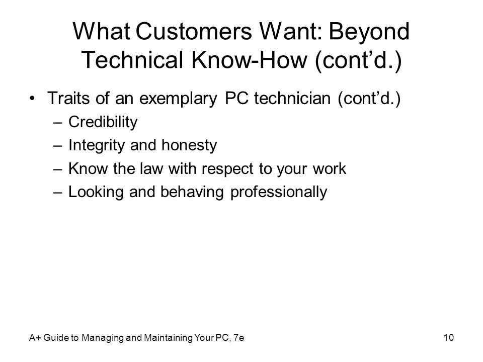 What Customers Want: Beyond Technical Know-How (cont'd.)