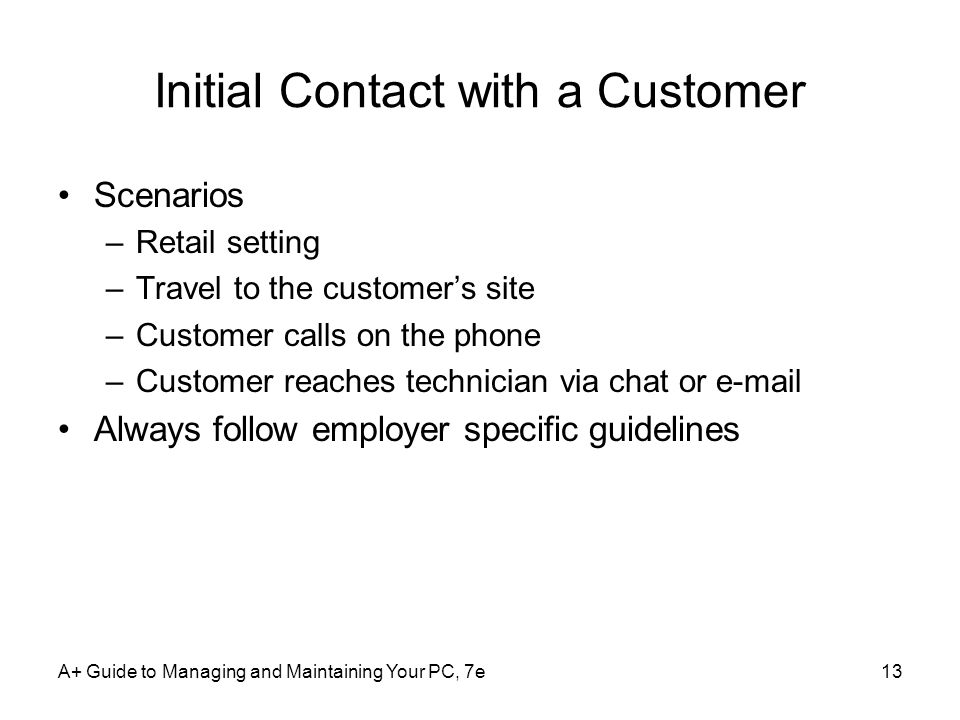 Initial Contact with a Customer