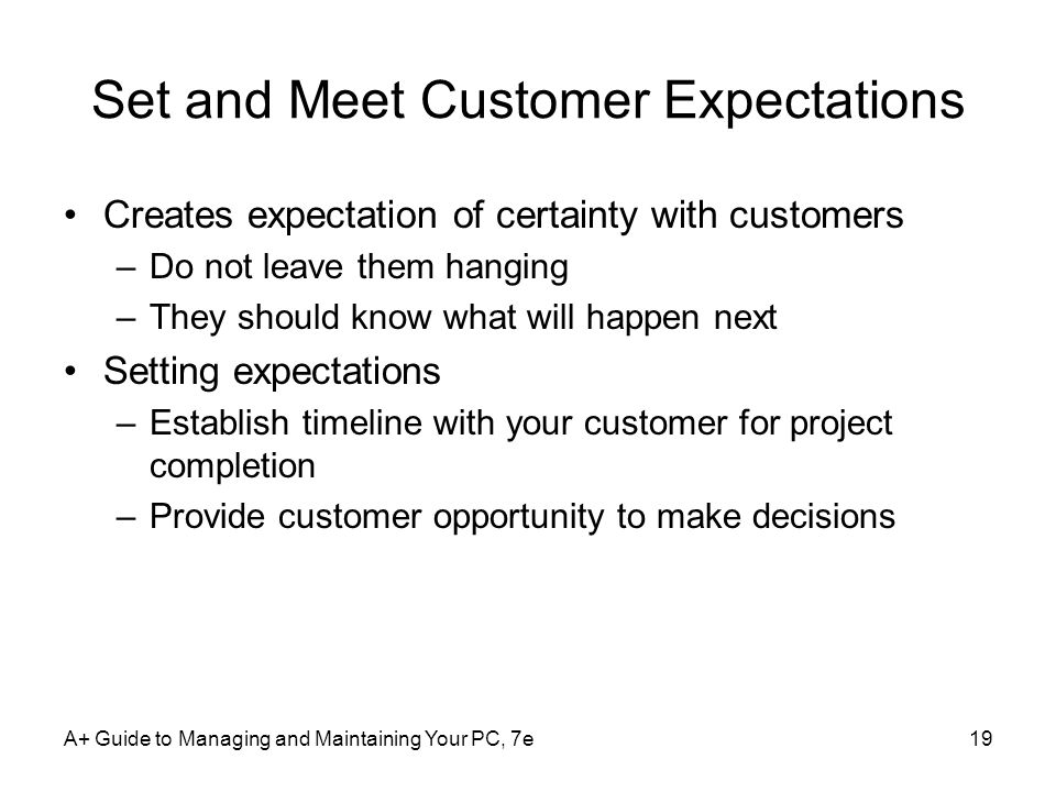Set and Meet Customer Expectations