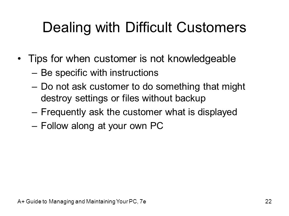 Dealing with Difficult Customers