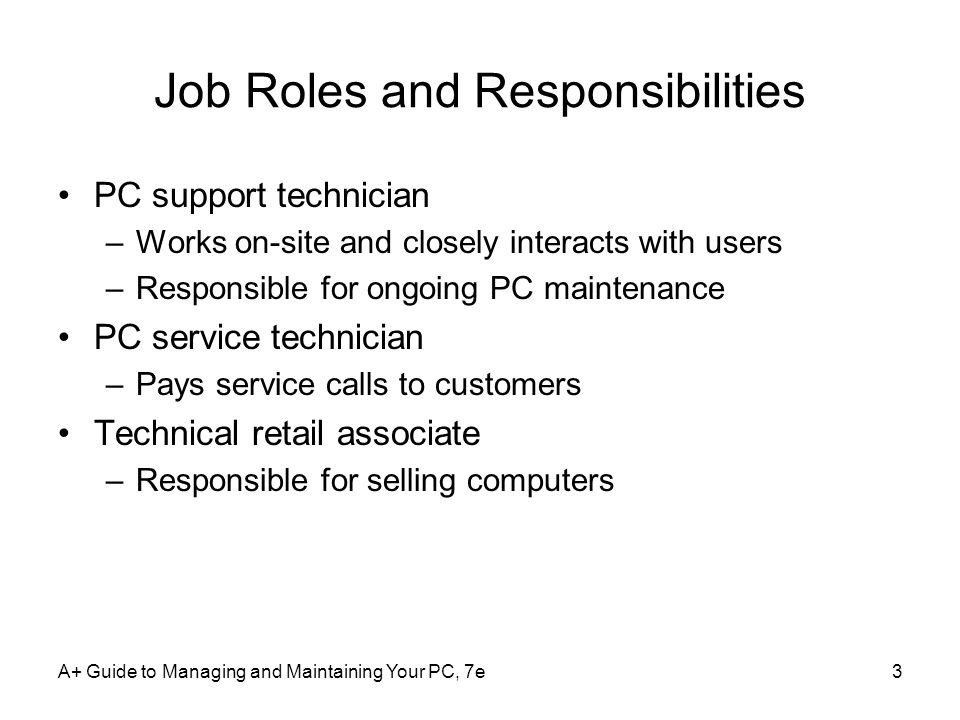 Job Roles and Responsibilities