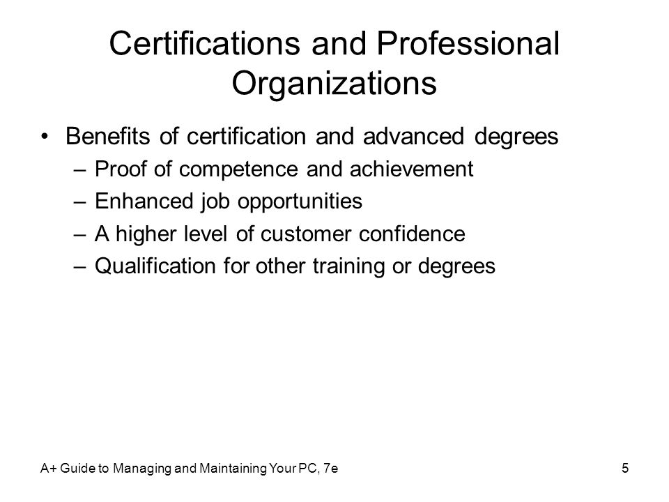 Certifications and Professional Organizations