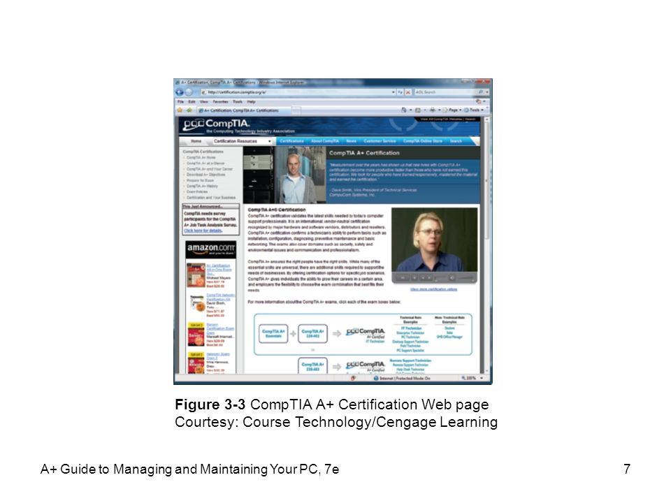 Figure 3-3 CompTIA A+ Certification Web page