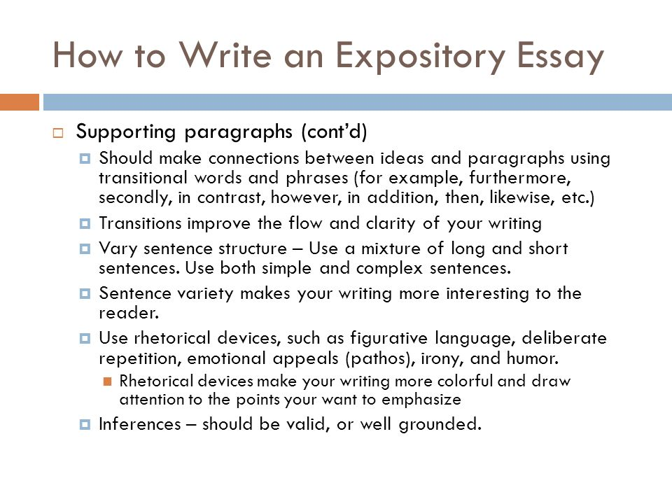 how to write an expository essay example Expository essay 8 th how to write a thesis statement • choose a topic • develop a expository introduction example: preparing for the worst.