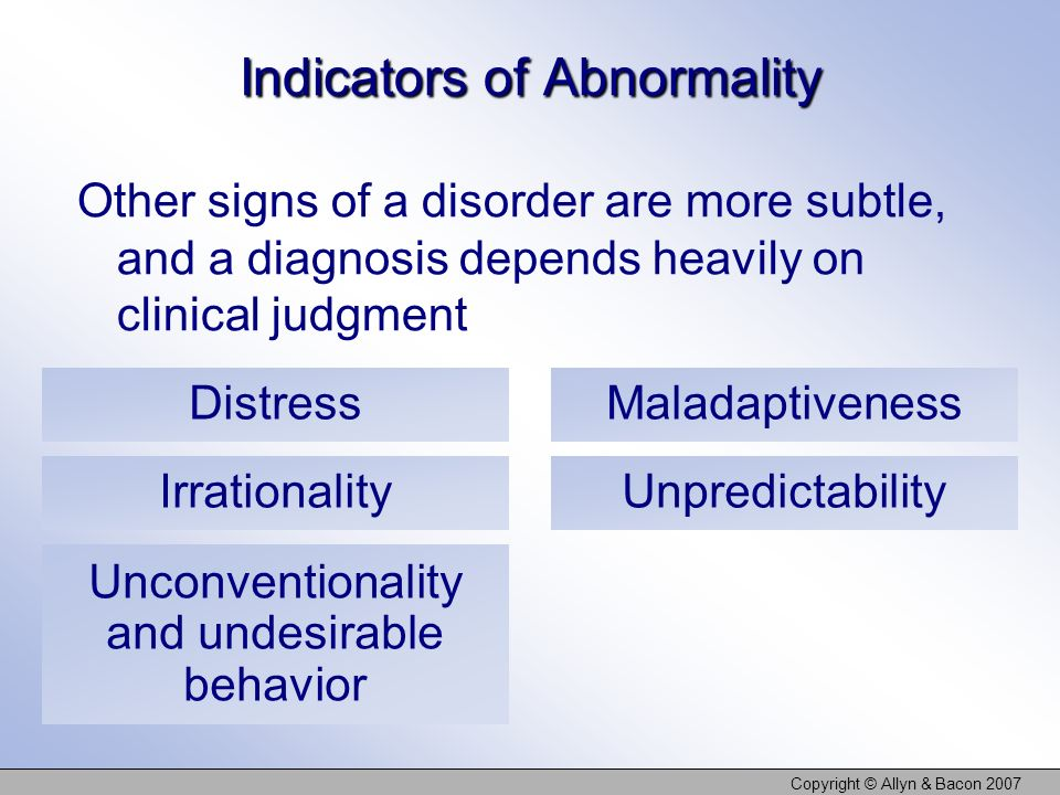 Indicators of Abnormality