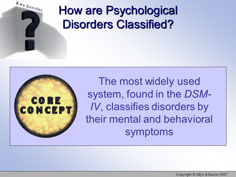 How are Psychological Disorders Classified