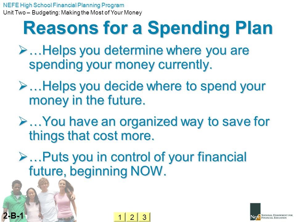 Reasons for a Spending Plan