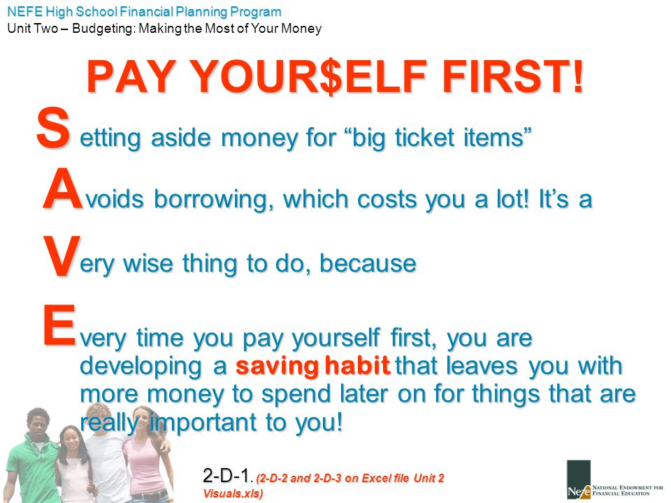 S A V E PAY YOUR$ELF FIRST! etting aside money for big ticket items