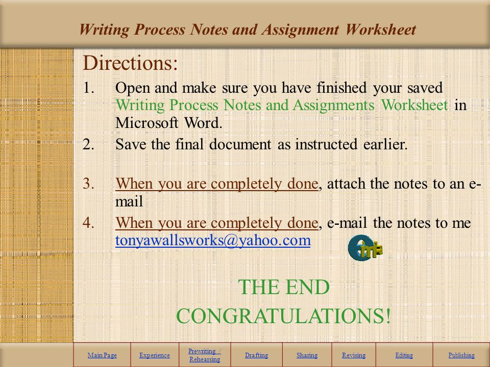 Writing and assignment sheet steps