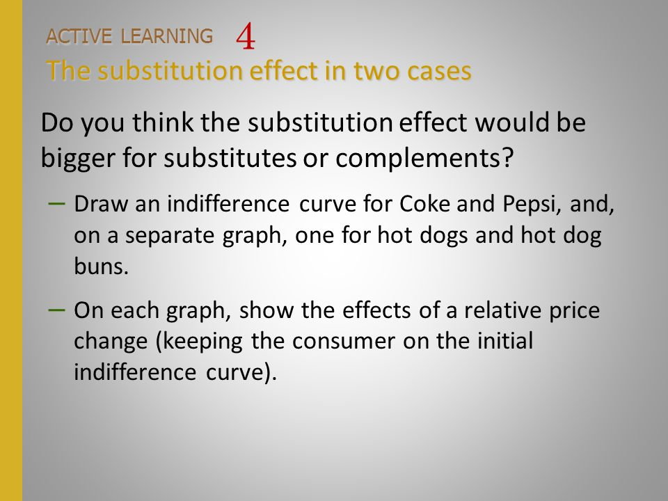 ACTIVE LEARNING 4 The substitution effect in two cases