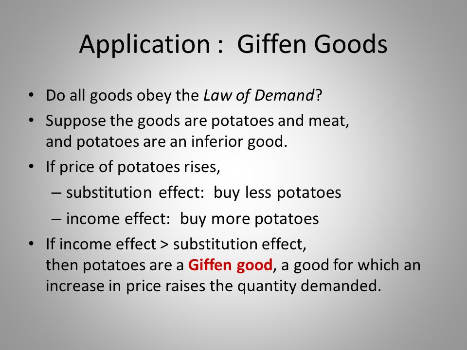 Application : Giffen Goods
