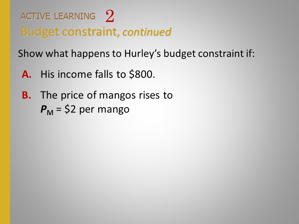 ACTIVE LEARNING 2 Budget constraint, continued
