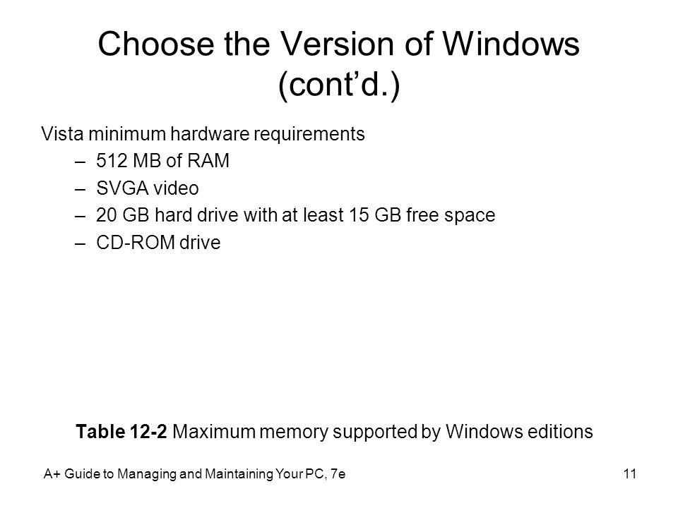 Choose the Version of Windows (cont'd.)