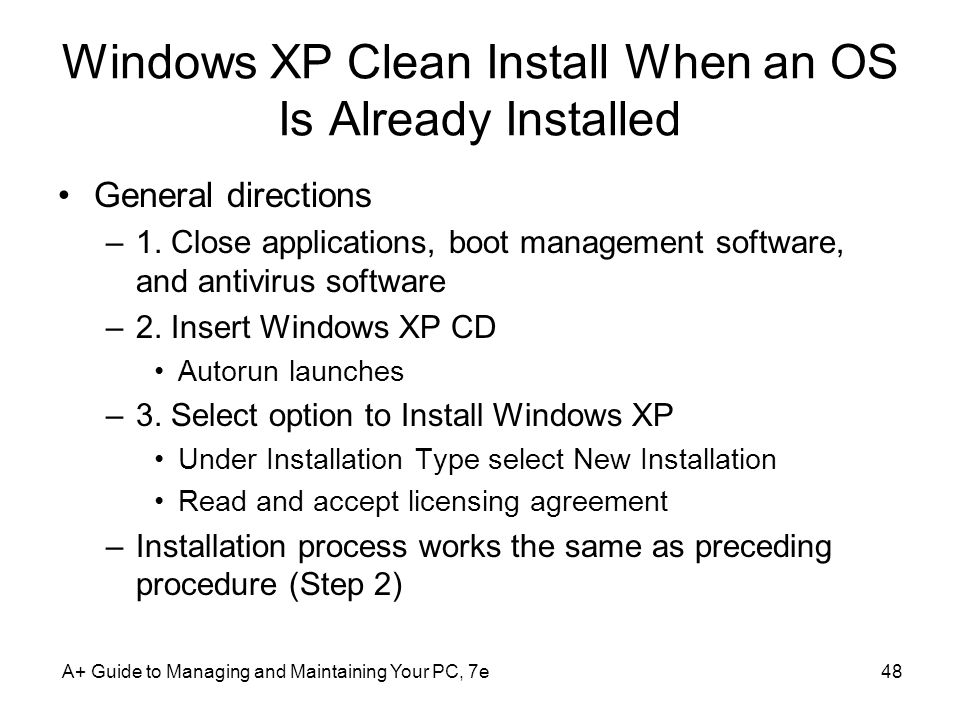 Windows XP Clean Install When an OS Is Already Installed