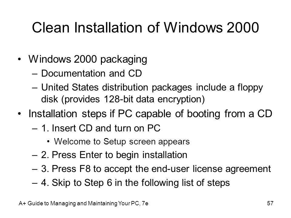 Clean Installation of Windows 2000