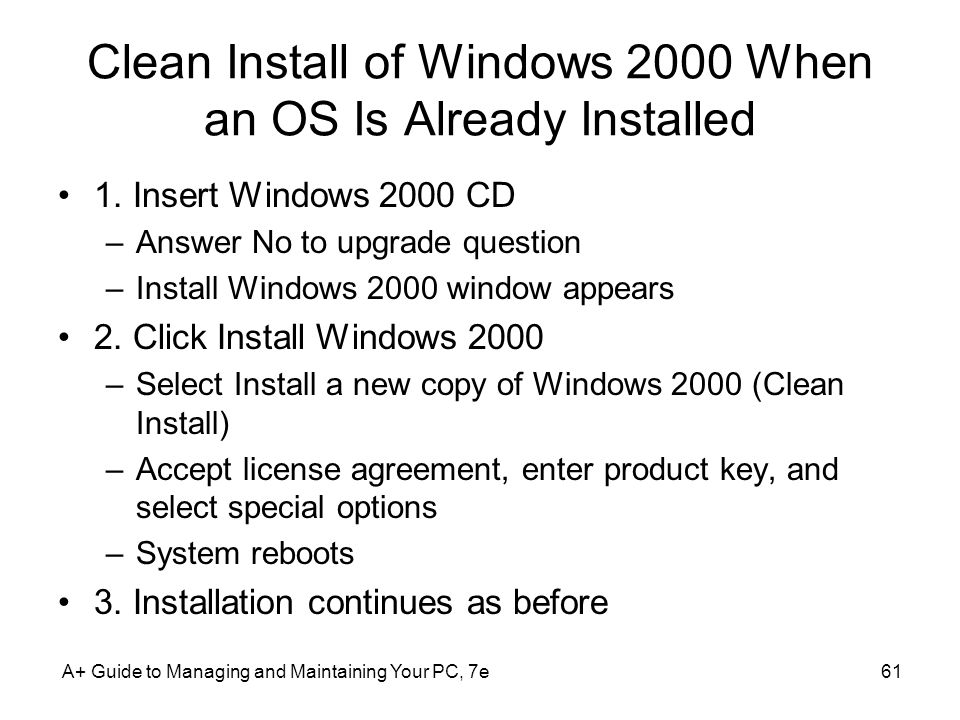 Clean Install of Windows 2000 When an OS Is Already Installed
