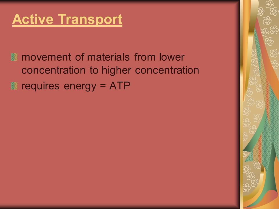 Active Transport movement of materials from lower concentration to higher concentration.