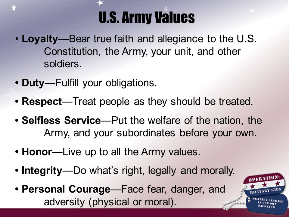 an overview of the 7 us army values General, united states army chief of staff official: army values 7-1 overview of develops.