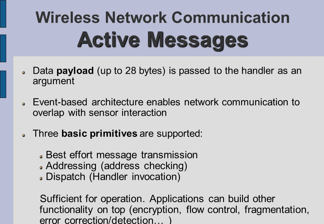 Wireless Network Communication Active Messages