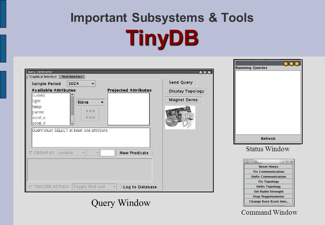 Important Subsystems & Tools TinyDB