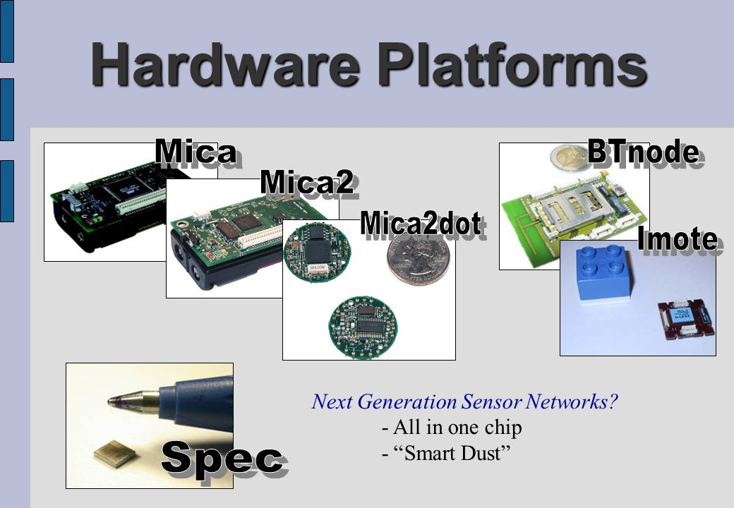 Hardware Platforms Mica Imote BTnode Mica2 Mica2dot Spec