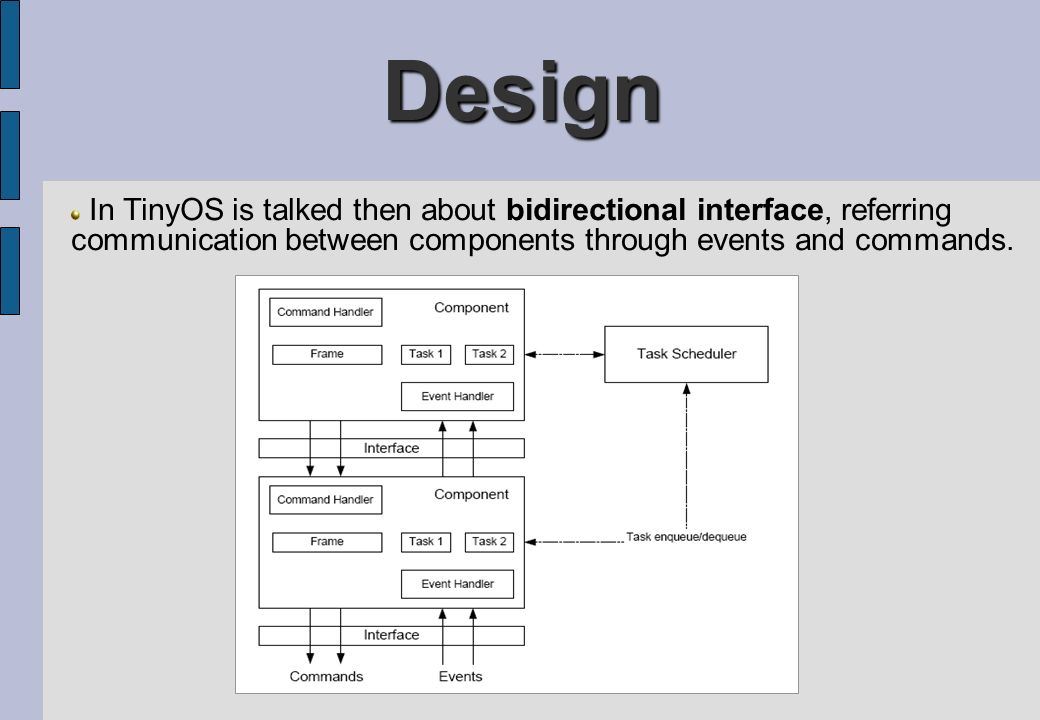 Design In TinyOS is talked then about bidirectional interface, referring communication between components through events and commands.