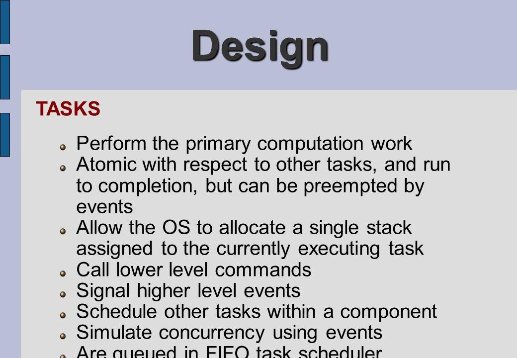 Design TASKS Perform the primary computation work