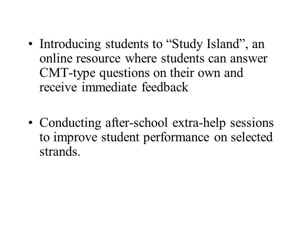 Introducing students to Study Island , an online resource where students can answer CMT-type questions on their own and receive immediate feedback