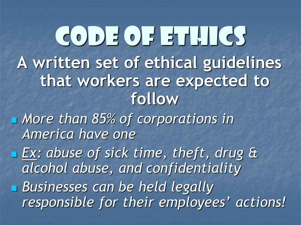 how to get employess to follow codes of ethics