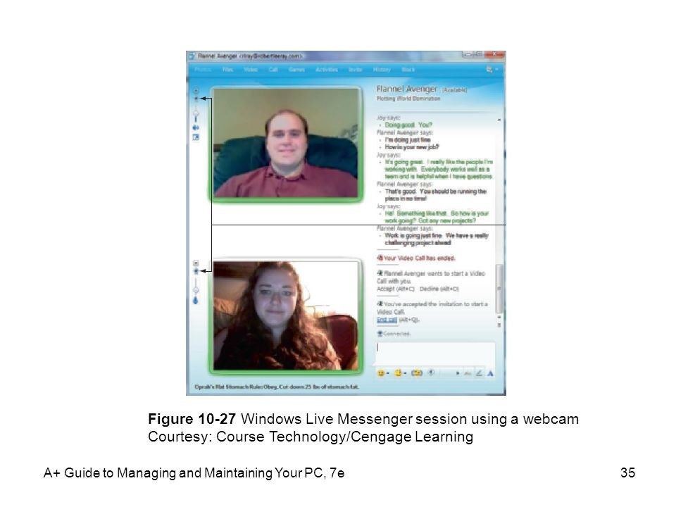Figure 10-27 Windows Live Messenger session using a webcam