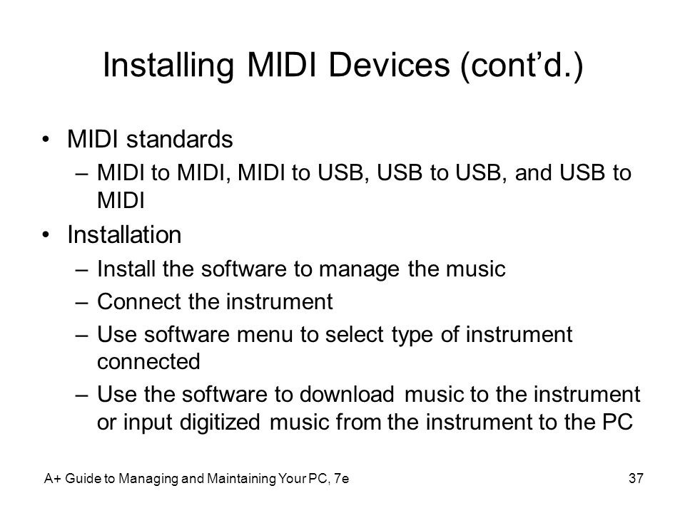 Installing MIDI Devices (cont'd.)