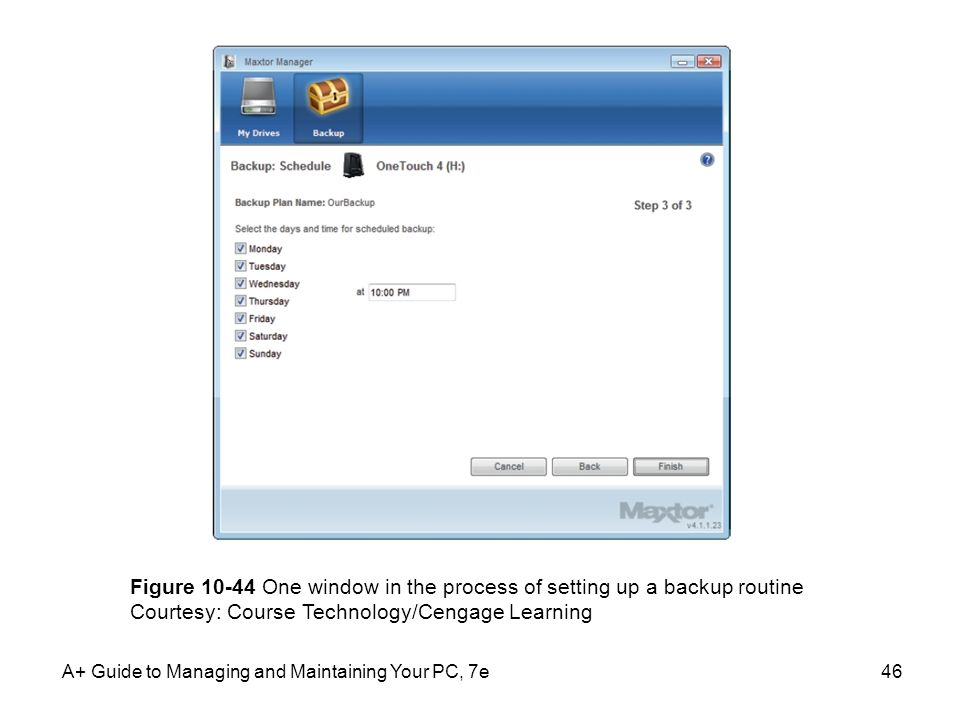 Figure 10-44 One window in the process of setting up a backup routine