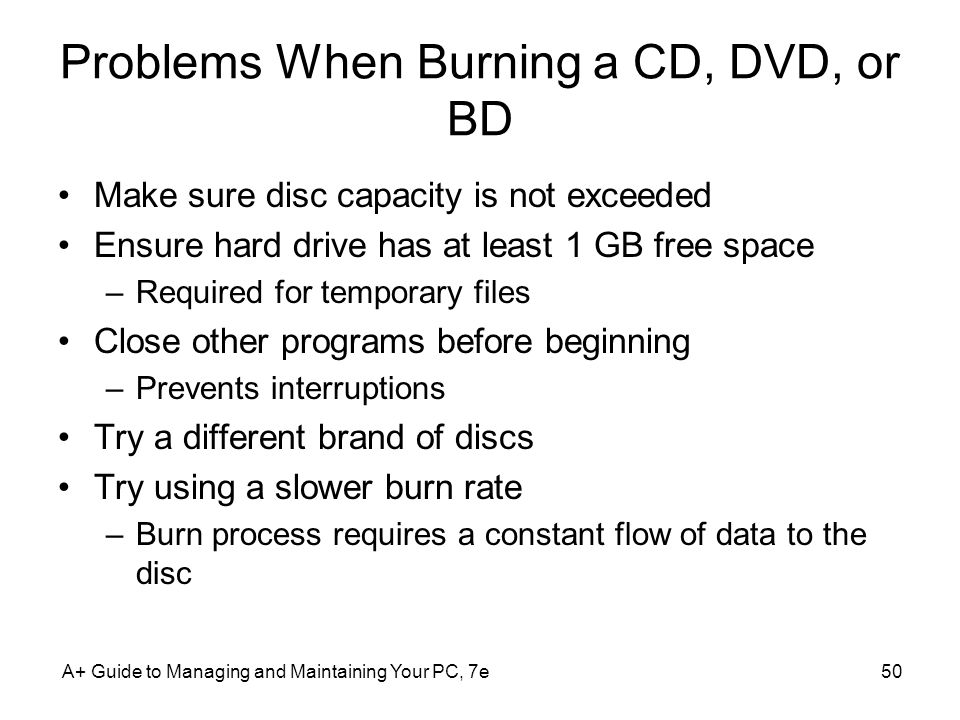 Problems When Burning a CD, DVD, or BD