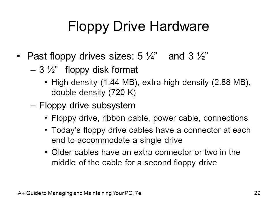 Floppy Drive Hardware Past floppy drives sizes: 5 ¼ and 3 ½