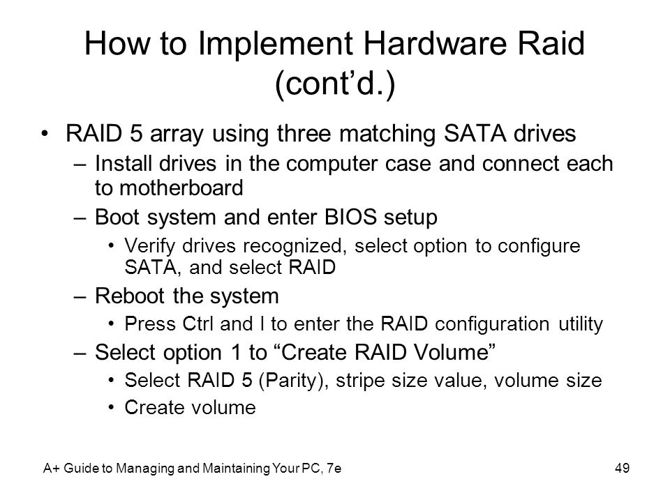 How to Implement Hardware Raid (cont'd.)