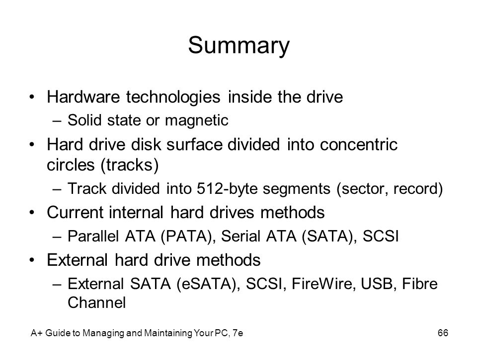 Summary Hardware technologies inside the drive