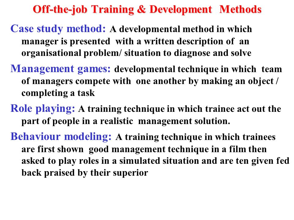 research methodology of training and development After training, evaluation is not conducted – so that the research unit can  the research question, the research objectives, the research methodology, the.