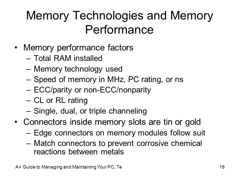 Memory Technologies and Memory Performance
