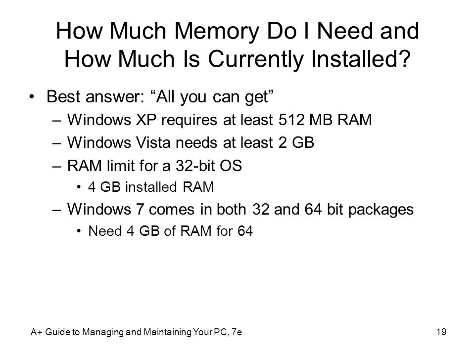 How Much Memory Do I Need and How Much Is Currently Installed