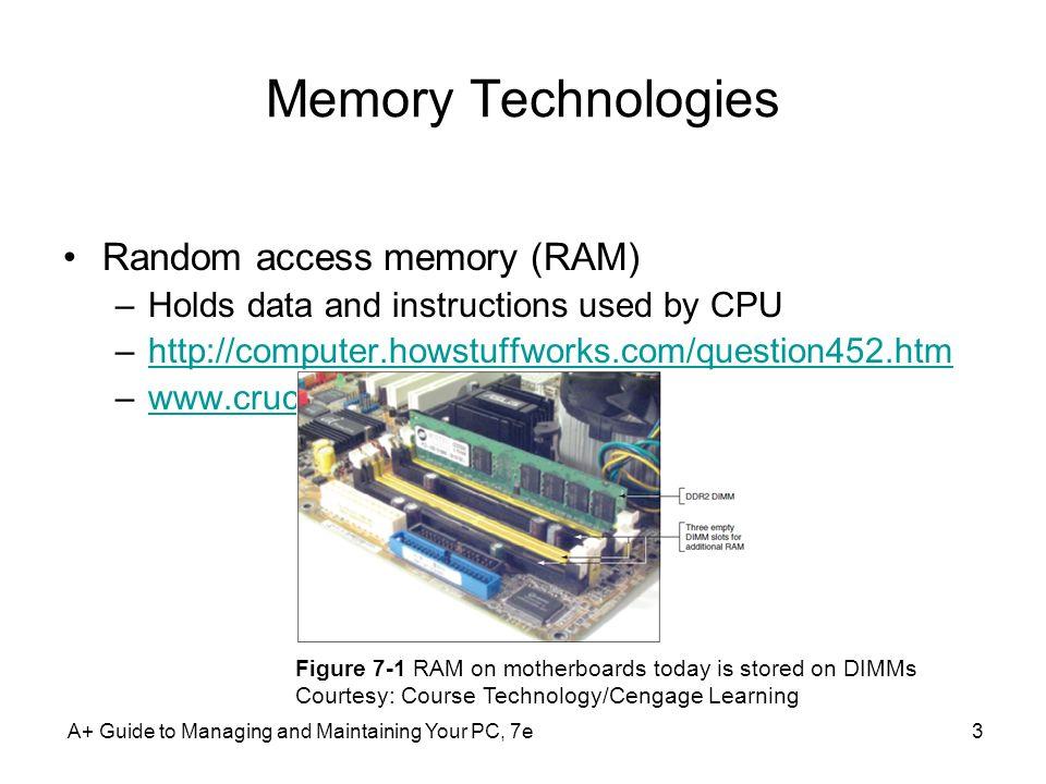 Memory Technologies Random access memory (RAM)